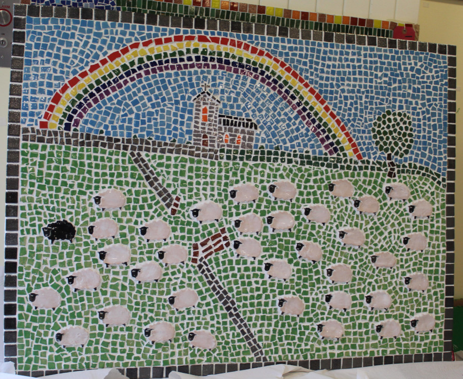 Mosaic by David Welsh scene with sheep, stone walls