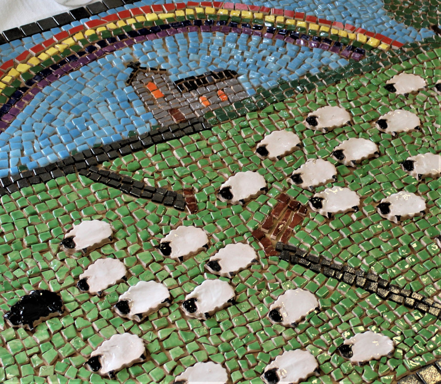 Mosaic Welsh scene with sheep, stone walls